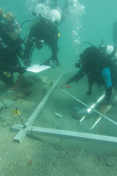 Students are documenting underwater site